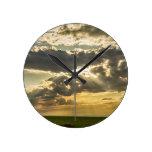 Sunshine_Beams_of  Gold_Raining_Down Round Clock