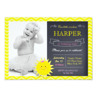 Sunshine Chalkboard Birthday Party Invitations