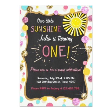 Sunshine Lemonade Birthday Party Invitation Pink