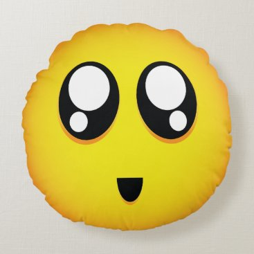 super cute emoji round pillow