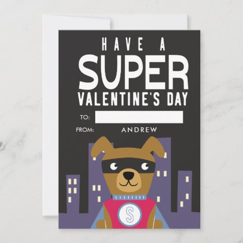Superhero Dog Classroom Valentine Holiday Card