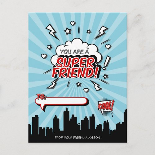 Superhero Friend Comic Valentine Postcard