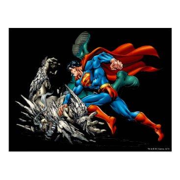 Superman Fights Monster Postcard