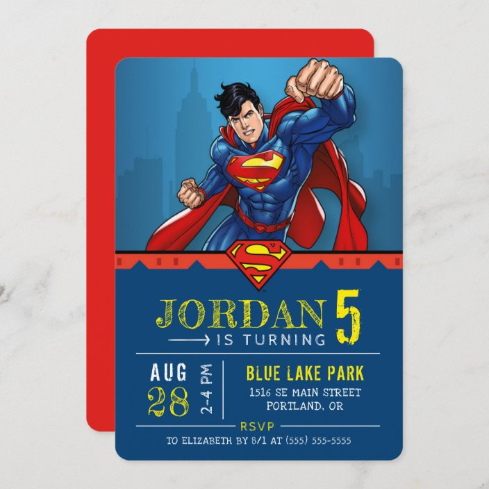 superman happy birthday invitation zazzle com