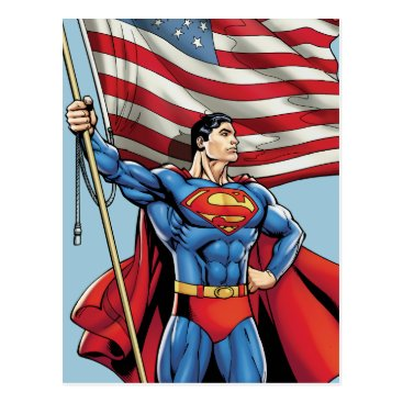 Superman Holding US Flag Postcard