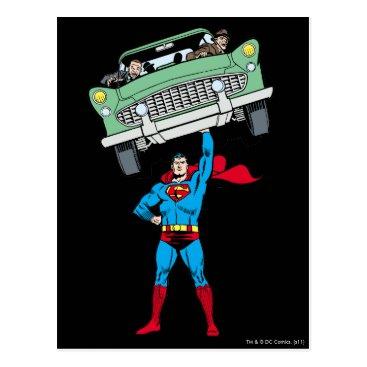 Superman holds a car postcard