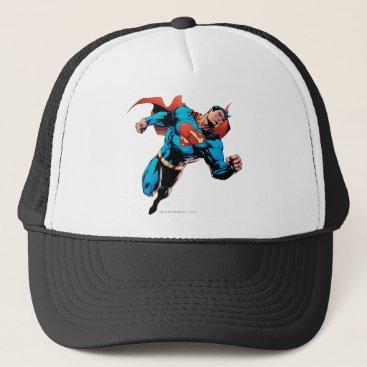 Superman in suit trucker hat