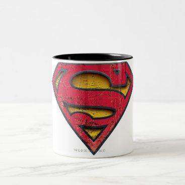Superman S-Shield | Distressed Logo Two-Tone Coffee Mug