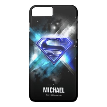 Superman Stylized | Blue White Crystal Logo | Name iPhone 8 Plus/7 Plus Case