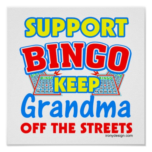 Support Bingo Grandma Design Posters