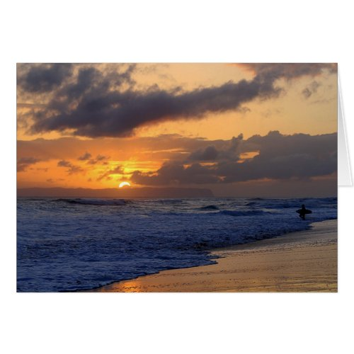 Surfer At Sunset On Kauai Beach, Niihau on Horizon Greeting Cards
