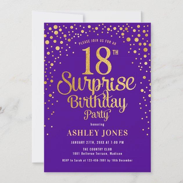 surprise 18th birthday party purple gold invitation zazzle com