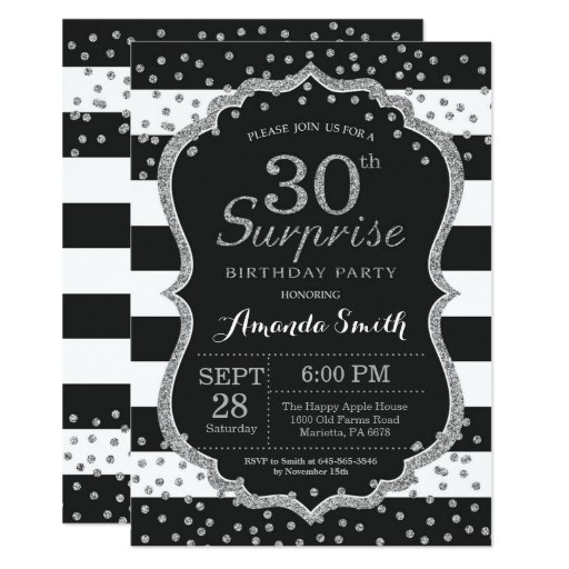 Surprise 30th Birthday Invitation. Silver Glitter Invitation