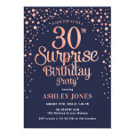 Surprise 30th Birthday Party - Navy & Rose Gold Invitation