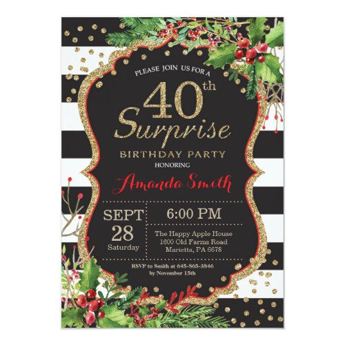 Surprise 40th Birthday Invitation Christmas Gold