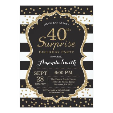 Surprise 40th Birthday Invitation. Gold Glitter Card