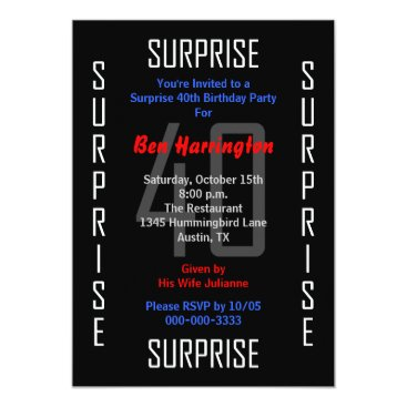 Surprise 40th Birthday Party Invitation 40
