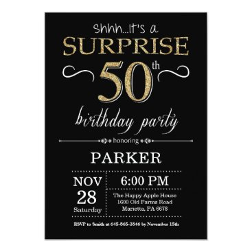 Surprise 50th Birthday Invitation Black and Gold