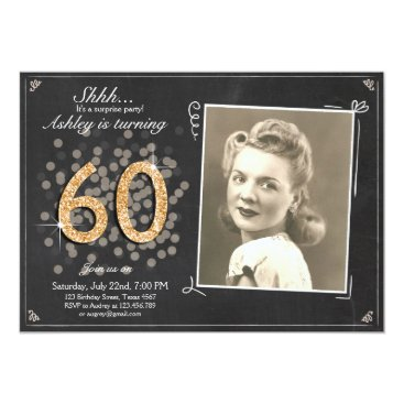 Surprise 60 birthday invitation Chalkboard Rustic