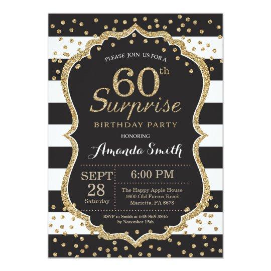 Surprise 60th Birthday Invitation Gold Glitter Invitation