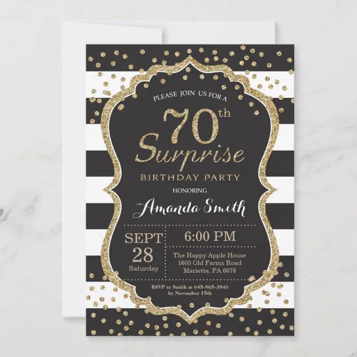 Any age birthday rose gold glitter diamond bow invitation. Surprise 70th Birthday Invitation Gold Glitter Invitation Zazzle Com