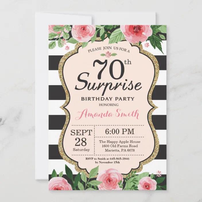 Any age birthday rose gold glitter diamond bow invitation. Surprise 70th Birthday Invitation Women Floral Zazzle Com