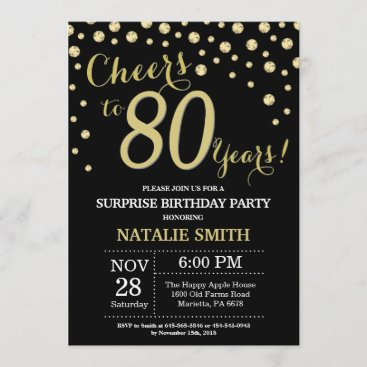 Surprise 80th Birthday Black and Gold Diamond Invitation