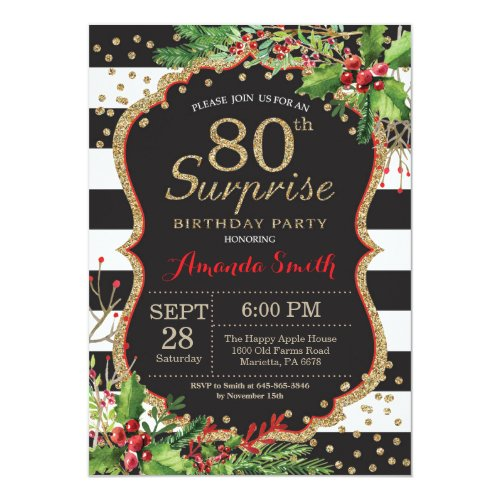 Surprise 80th Birthday Invitation Christmas Gold