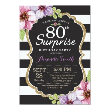 Surprise 80th Birthday Invitation Floral Gold