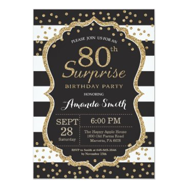 Surprise 80th Birthday Invitation. Gold Glitter Card