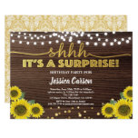 Surprise birthday party rustic wood gold sunflower invitation