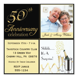 50th Wedding Anniversary Invitation With Photo