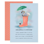 Swan & Baby Cygnet Pink & Blue Rain Baby Shower Invitation