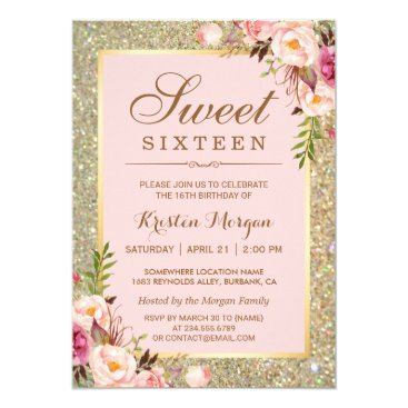 Sweet 16 Birthday | Pink Floral Gold Glitters Invitation