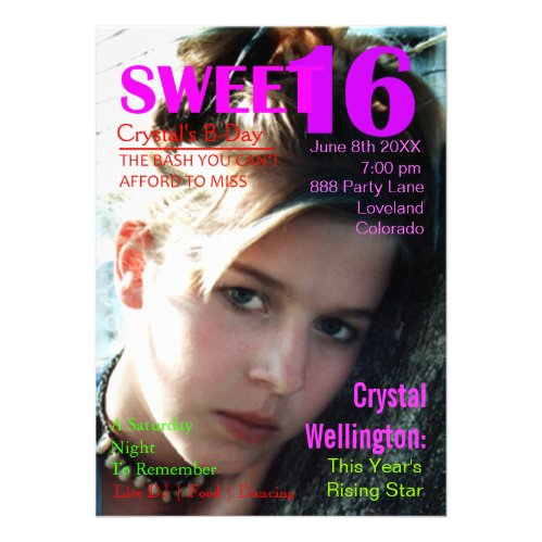 Sweet 16 Rising Star Pink Magazine Cover Invite