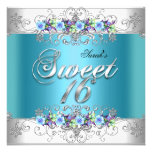 Sweet 16 Sweet Sixteen White Blue Purple Flowers Personalized Invite