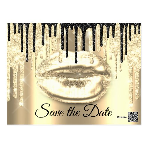 Sweet 16th Bridal Quinceanera Drips Glitter Gold Postcard