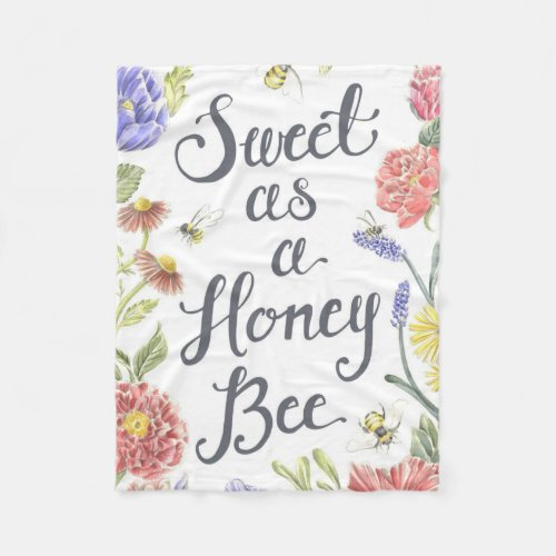 Sweet as A Honey Bee Fleece Blanket by EricaCIllustration