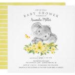 Sweet Cheerful Elephant Baby Boy Shower Invitation