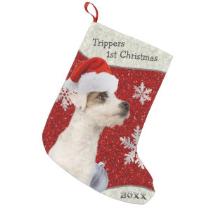 Sweet Customizable Jack Russell Christmas Stocking