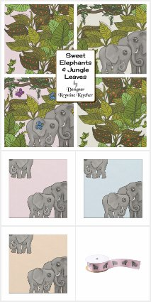 Sweet Elephants In The Jungle Ribbon and Fabric