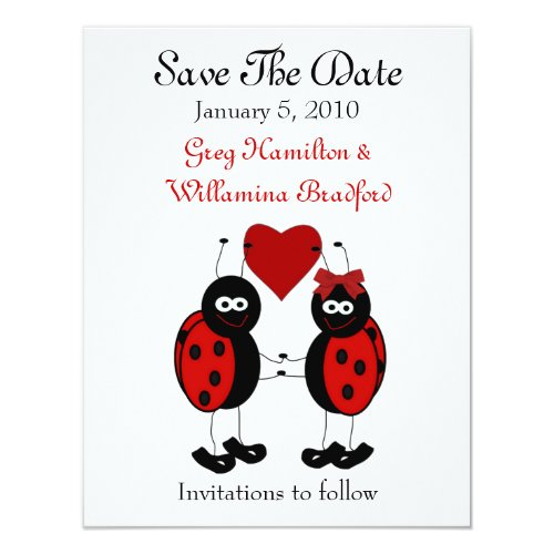 Sweet Ladybug Save the Date Announcements