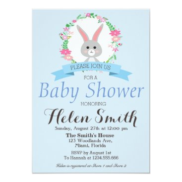 Sweet little Bunny with florals wreath baby shower Card