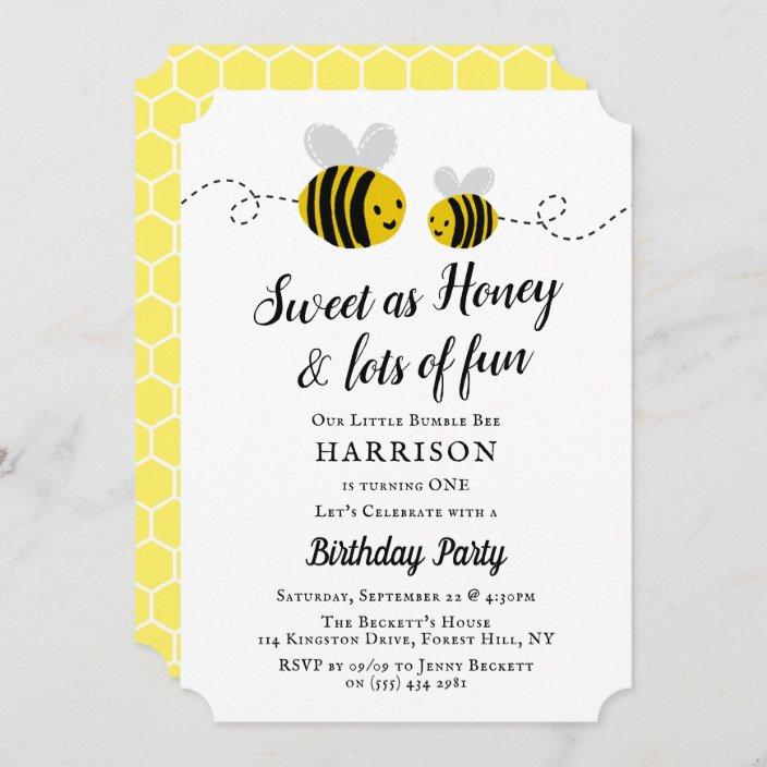 sweet little honey bee 1st birthday party invitation zazzle com