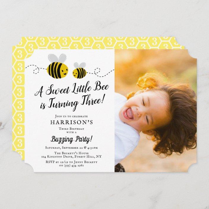 sweet little honey bee photo 3rd birthday party invitation zazzle com