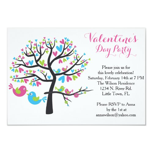 Sweet Love Birds Valentine's Day Party Invitation