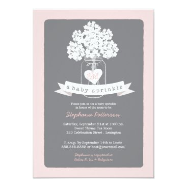 Sweet Mason Jar Pink | Gray Baby Sprinkle Invitation