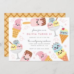 ice cream birthday invitations zazzle