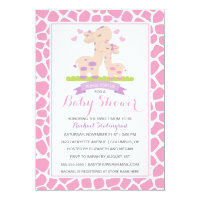 Sweet Pink Baby Girl Giraffe Jungle Baby Shower Card