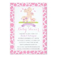 Sweet Pink Baby Girl Giraffe Jungle Baby Shower Card